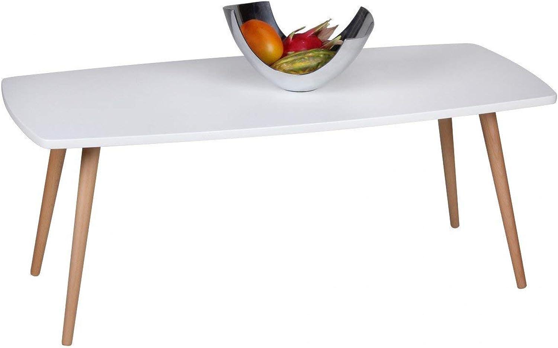 Wohnling Design Couchtisch Scanio Wohnzimmertisch matt, Kaffeetisch im skandinavischen Retro-Look, Tisch mit Echtholzbeinen, Loungetisch Wohnzimmer rechteckig, 110 x 50 x 42 cm, wei