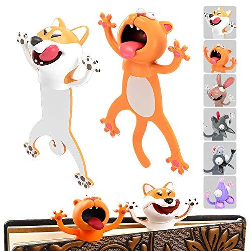 DUOUPA Lesezeichen 3D Karikatur Tier 2 Stück Set Bookmark Lesezeichen Jungs und Mädchen Lustige Geschenk Kinder und Erwachsene Schulmaterial Page Marker(Katze+Hund)
