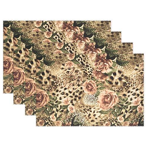 Beryl Shop Gestreifte Tischset-Matte aus Leopardenblüte, Blumendruck 12 'x 18' Tischset aus Polyester für die Küche Esszimmer 6er-Set