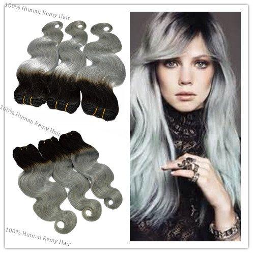 Tête entière Trame de cheveux ondulés 100 g/Bundle Longueur 35,6 cm 40,6 cm 45,7 cm 50,8 cm 55,9 cm 61 cm 100% Extensions de cheveux humains T1bsilver