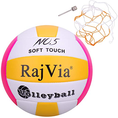 Rajvia Tacto Suave Pelota de Voleibol Tamaño Oficial 5 para Interior, al Aire Libre, Playa, Gimnasio, Juego de Pelota Cuero sintético Incluye una Bolsa de Malla y una Aguja (Rosado)