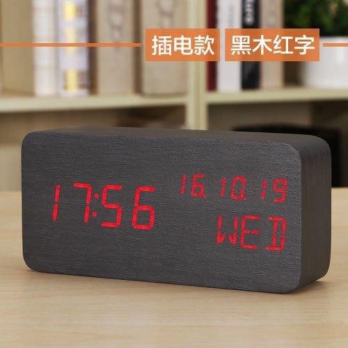 Komo LED Elektronische klok nachtlicht Creative wekker nachtkastje gemaakt van hout Smart Clock kalender temperatuur tafelklok donkere houtkracht op rood veld