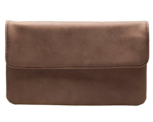 cecilia&bens Damen Clutch in verschiedenen Farben | kleine Handtasche | Abendtasche, Farbe:dunkelbraun