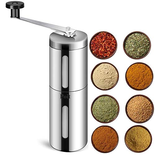 Poit Portable Manual Spice Herb Grinder for Beans, Pepper and Spice Herb, Silver-Clearance Price