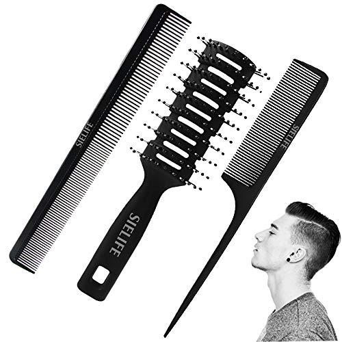 Ensemble de peignes de style professionnel 3 pièces, Brosse à cheveux pour homme Peigne de queue Brosse à cheveux ventilée pour hommes et femmes, Peigne de coiffure coupe de cheveux Peigne de coiffeur