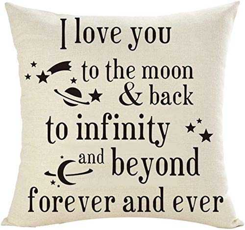Throw Pillow Cover 18x18inches Festival Gifts To Lover I Love You To The Moon Y Back To Infinity Y Wedding Lino De Algodón Decorativo Hogar Sofá Silla Coche Funda De Almohada Cuadrada Funda De Cojín