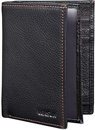 Portafoglio Uomo in Vera Pelle, LENSUN Porta Carte di Credito Portamonete RFID Blocco Portafogli Wallet con Confezione Regalo – Nero