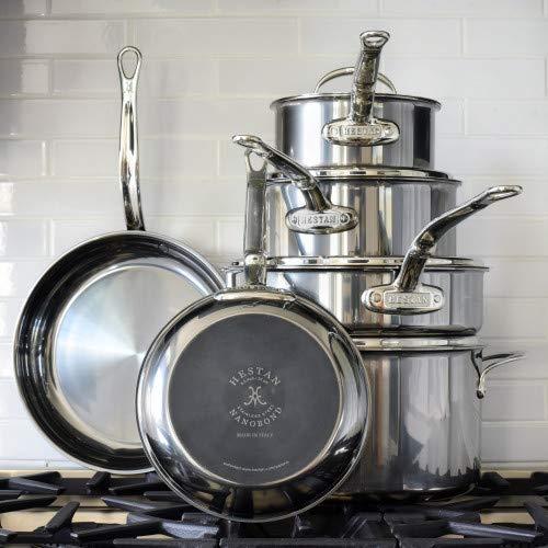 Hestan NanoBond Collection Ultimate Set - Molecular Titanium, Assortment of Pots, Pans & Skillets, Made in Italy, 10- Piece Set, Titanium