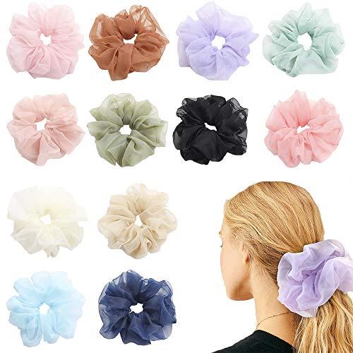 12 Packs Hair Scrunchies Oversized Soft Organza Scrunchy Hair Bands Scrunchy Hair Ties Ropes Elastics Ponytail Holder Hair Accessories Headbands for Women Girls