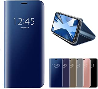 HMOON Mirror Case for Sony Xperia XZ Blue, Premium PU Leather Flip Case + Hard PC Back Cover Luxury Clear View Design Prot...