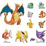 Figurines d'action Pokémon, Charizard, Magikarp, Haunter, Eevee, Charmander, Squirtle, Pikachu, Bulbasaur, Jigglypuff & Jolteon, Détails Authentiques Officiels, Lot de 10