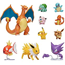 Image: Pokemon Official Ultimate Battle Figure 10-Pack - 2 inch Pikachu, 2 inch Charmander, 2 inch Squirtle, 2 inch Bulbasaur, 2 inch Eevee, 2 inch Jigglypuff, 3 inch Magikarp, 3 inch Haunter, 3 inch Jolteon, 4.5 inch Charizard (Amazon Exclusive)