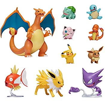 "Pokemon Official Ultimate Battle Figure 10-Pack - 2  Pikachu 2  Charmander 2  Squirtle 2  Bulbasaur 2  Eevee 2  Jigglypuff 3  Magikarp 3  Haunter 3  Jolteon 4.5"" Charizard  Amazon Exclusive"