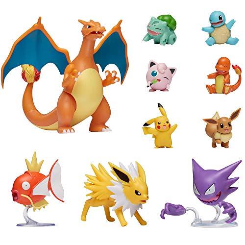 Pokémon Ultimative Deluxe Multi 10-Pack Figuren, Glurak, Karpador,Alpollo, Evoli,Glumanda, Schiggy,Pikachu,Bisasam,Pummeluff,Blitza,Offizielle Pokemon