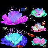 5 piezas de decoración de plantas de pecera, decoración de flores fluorescentes artificiales de loto coral brillante