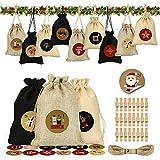 Calendrier de l'Avent, DIY Sachets en Jute pour Calendrier de l'Avent à Remplir, 24 Pochettes Sacs à Cordon Calendrier De l'Avent 2020, Calendriers de Noël avec Autocollant Calendrier de l'Avent