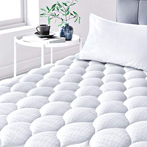 Leafbay King Mattress Pad, Cotton Quilted Fitted Cooling Mattress Topper with Soft Snow Down Alternative Fill, Breathable Mattress Protector with Deep Pocket up to 21 Inches
