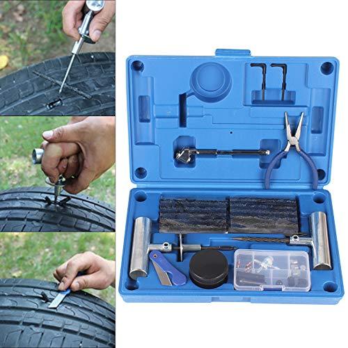MorNon 67tlg Autoreifen Kfz PKW Reifen Reparatur Satz Pannenset Flickzeug Flicken EV Mit Aufbewahrungsbox Reifenreparaturwerkzeug Auto