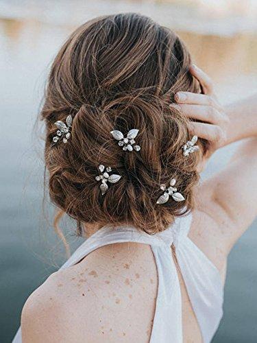 Fxmimior mariée épingles à cheveux de feuille Perles Canmiya Accessoires Cheveux de bohème de mariage Coiffe Lot de 3 Doré