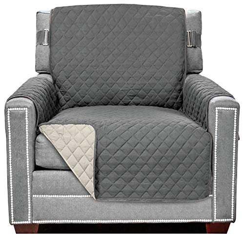 Sofa Shield Original Patent Pending Reversible Chair Protector for Seat Width up to 48 Inch, Furniture Slipcover, 2 Inch Strap, Chairs Slip Cover Throw for Pets, Kids, Cats, Armchair, Charcoal Linen