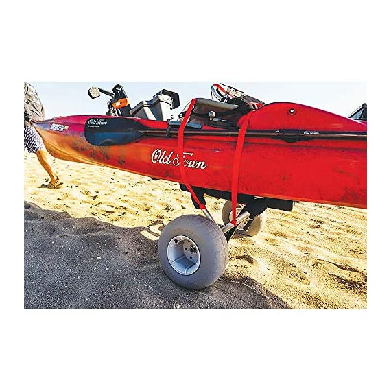 """Malone WideTrak SB Large Kayak/Canoe Cart with Balloon Wheels & Bunks 6 24"""" adjustable padded bunks with mounting hardware Folding silver & black anodized aluminum frame Corrosion resistant stainless steel fittings"""