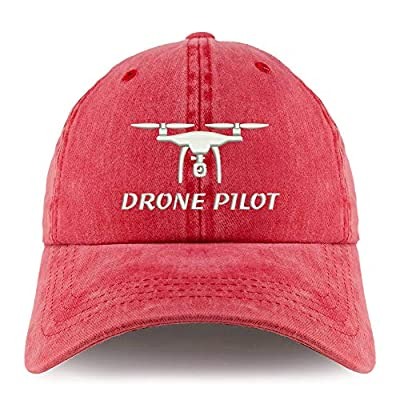 Trendy Apparel Shop Drone Pilot Embroidered Pigment Dyed Unstructured Cap - RED