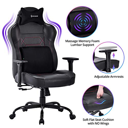 VON RACER Massage Gaming Chair - Memory Foam High Back Big and Tall Adjustable PC Racing Office Computer Desk Ergonomic Swivel Task Chair - Memory Foam Lumbar Cushion and Headrest, Black