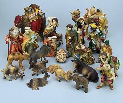 Krippenfiguren Set aus Polyresin, handbemalt. Mathiaskrippe 23 Teile, 11 cm