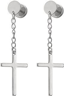 Pair Circle Screw Stud Earrings with Dangle Cross for Men Women, Stainless Steel, Screw Back