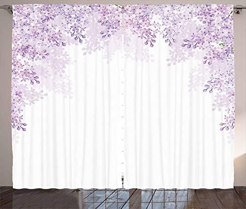 ABAKUHAUS Fiore Tenda, Lilla Fiori della Sorgente, Casa Arredamento Elemento Distintivo Due Pannelli Set, 280 x 225 cm, Pallido Mauve Lavanda Bianca