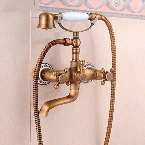 Grifo mezclador para lavabo, WATER TOWER, moderno, con cuerpo de latón y cuerpo antiguo, de cobre antiguo, para montar en pared, con válvula de mezcla de agua caliente y fría, juego de ducha de porcelana azul y blanco