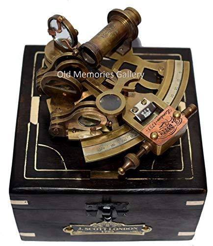 nautische jScott londen messing schip sextant met hardhout doos