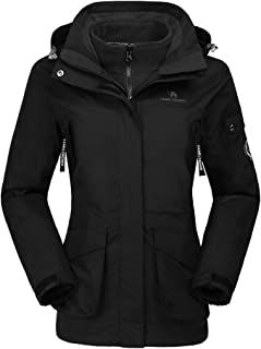 Womens Waterproof Ski Jacket 3-in-1 Windbreaker Winter Coat Fleece Inner for Rain Snow Outdoor Hiking