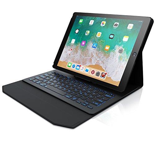 CSL - iPad Pro 12,9 Zoll Tastatur mit Hintergrundbeleutung - Schutzhülle Tasche Cover Case - Multimedia Funktionstasten - Rainbow Tastenbeleuchtung - kompatibel mit iPad Pro Generation 1 und 2