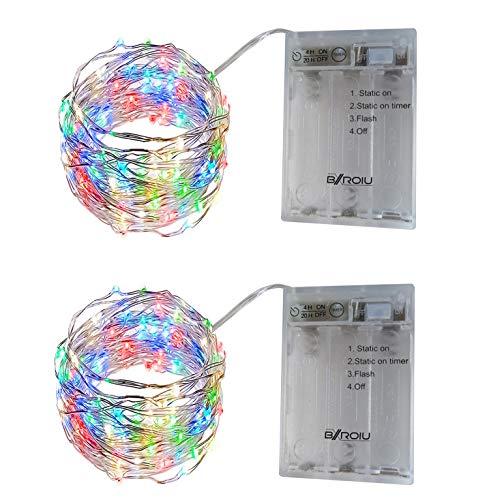 BXROIU 2 x 50er Micro LED Lichterkette Batterie betrieb 3 Programm und Timer Auf 5 Meter Silberdraht für Party, Weihnachten, Halloween, Hochzeit Deko (Mehrfarbig)