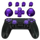Jadebones Metal Thumbsticks Thumb Grip + Bullet Buttons + D-pad Replacements Kits for Sony PS4/ DualShock 4/PS4 Slim/PS4 Pro Controller (Purple)