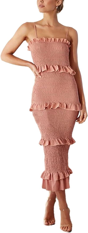 Ekaliy Women's Summer Ruched Bodycon Dress Spaghetti Strap Ruffle Layer Pleated Party Beach Long Dressess