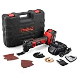TEENO 20VMAX Cordless Oscillating Tool Multi-Tool Kit with Variable Speed,2.0Ah Lithium-Ion Battery and Charger Included,15 Piece Accessories Set-2100 (Two Batteries)
