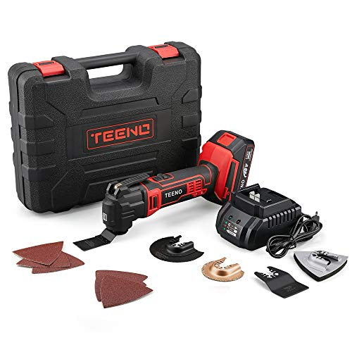 TEENO 20VMAX Cordless Oscillating Tool Multi-Tool Kit with Variable Speed,2.0Ah Lithium-Ion Battery and Charger Included,15 Piece Accessories Set-2100 (One Battery)