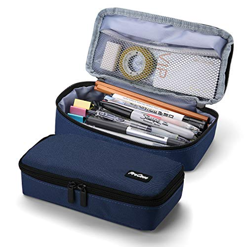 ProCase Pencil Bag Pen Case, Large Capacity Students Stationery Pouch Pencil Holder Desk Organizer with Double Zipper, Portable Pencil Pouch for School Office Supplies –Navy