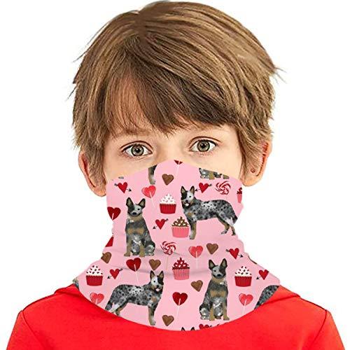 Pañuelo multiuso para niños y niñas, protección UV, protector para la cara, cuello, pasamontañas para verano, ciclismo, senderismo, deportes, al aire libre, ganado australiano, abrigo azul de San Valentín, corazones de perro