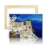 decalmile Pintura por Número de Kits DIY Pintura al óleo para Adultos Grecia 16'X 20' (40 x 50 cm, con Marco de Madera)