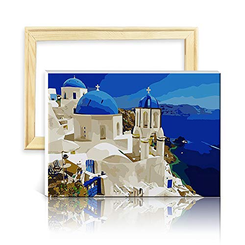 decalmile Pintura por Número de Kits DIY Pintura al óleo para Adultos Niños Grecia 16'X 20' (40 x 50 cm, con Marco de Madera)