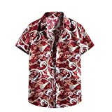 Camisa hawaiana para hombre, de verano, informal, con flores, manga corta, corte ajustado. F_rojo. XL