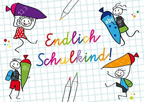 ENDLICH SCHULKIND! 10 Einschulungs-Einladungen (10793): 10-er-Set lustige Einladungskarten zur Einschulung/Schulanfang von EDITION COLIBRI © - umweltfreundlich, da klimaneutral gedruckt