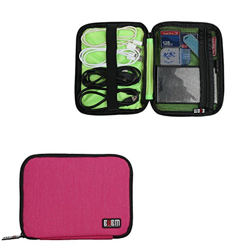 BUBM External Hard Drive Carry Case, Travel Electronics Accessories Organizer Case for USB Cable, SD Cards, Power Bank or Phone Accessories, (Mini, Rose Red)