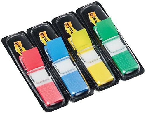 Post-it Haftstreifen Index Mini 683-4 – Farbige Haftnotizen in 11,9 x 43,2 mm – 4 Haftstreifen Blöcke à 35 Blatt in 4 Farben im praktischen Spender