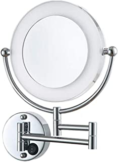 8.5 in Two-Sided Swivel Wall Mount Mirror, LED Lighted Bathroom Vanity Mirror On/Off Button 360°Rotation Extendable Lighted Makeup Mirror,Silver,1X+5X