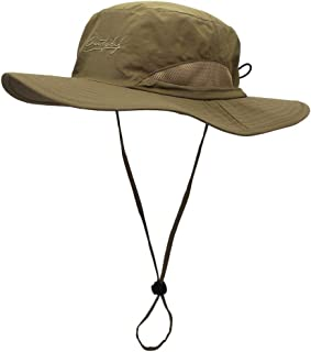 ABOOFAN Outdoor UV Protection Oval Bucket Hat with Cord Summer Fisherman Hats with Wide Casual Sunhat for Men Women (Dark ...
