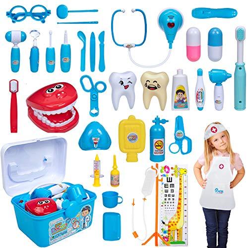 iNeego 37 Piezas Maletín de Médico de Juguete para Niños y Niñas, Juegos de Médicos, Maletin Doctora Juguetes Medicos Dentista Enfermera Disfraz Kit Doctor Accesorios Juego de rol Regalos